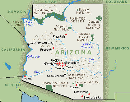 Guide To Researching Arizona Ancestors - Mapof arizona