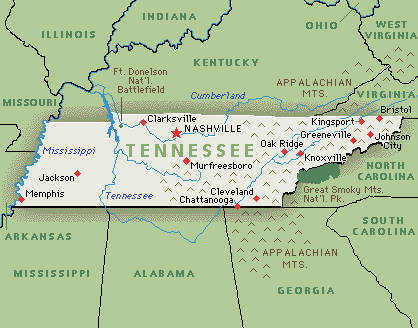 Tennessee Ancestor Guide - Tennessee map us